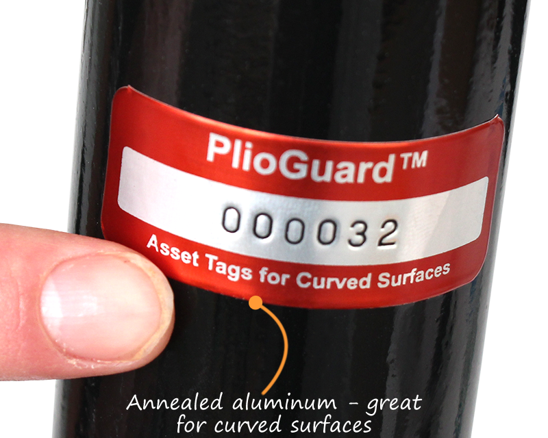 Asset tags for curved surfaces