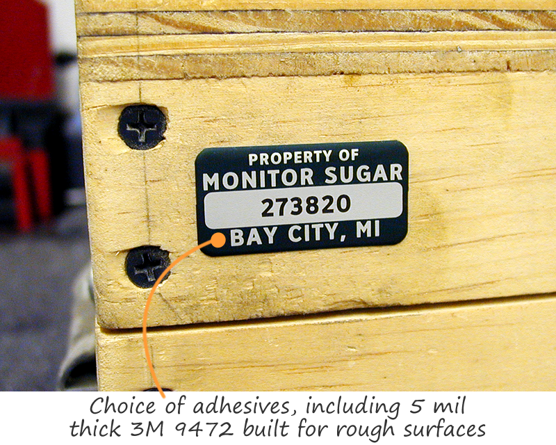 Asset tag with heavy adhesive for rough surfaces