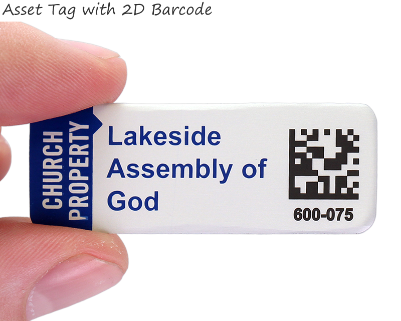 Asset Tag with 2D Barcode