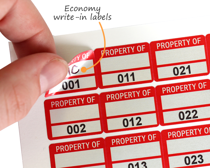 economy write-in labels.