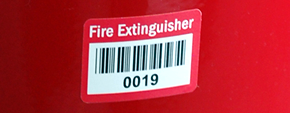 Preprinted Fire Extinguisher Labels with Barcodes
