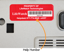 Laptop label with helpdesk telephone number