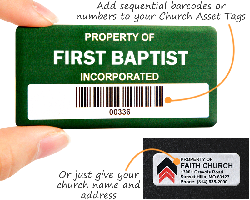 Metal asset tags for a church