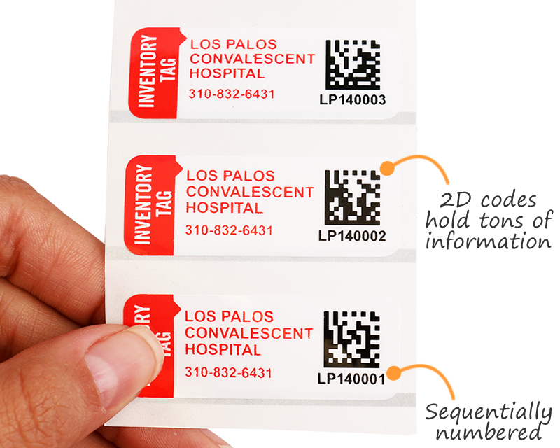 Numbered asset labels with 2D barcodes
