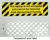 Tamperproof asset label for unencrypted laptop
