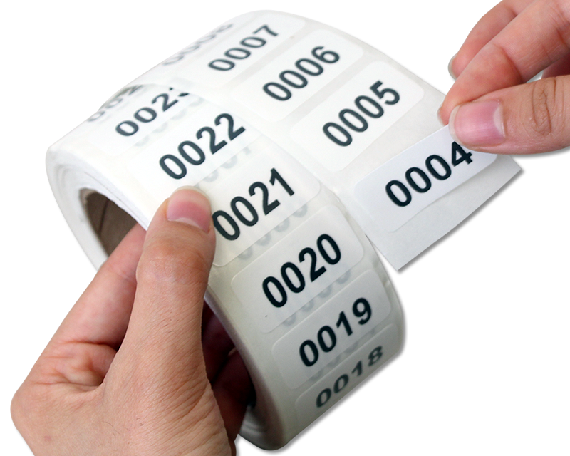 Sequential Numbers and Barcodes Asset Tags