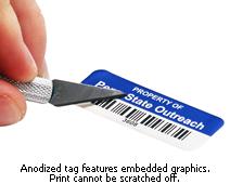 Anodized aluminum asset tag