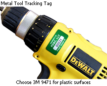 Asset tag with 3M 9471 for plastic surfaces