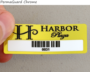 Barcode permaguard chrome label