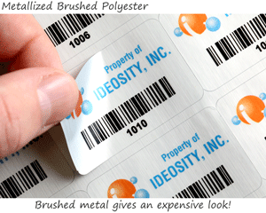 Brushed metal barcode labels