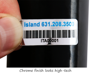 Chrome plastic labels with barcodes