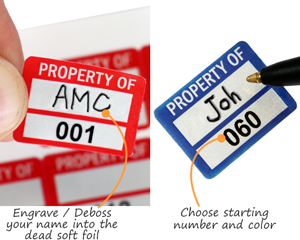 debossabable foil property labels