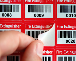 Fire extinguisher barcode labels