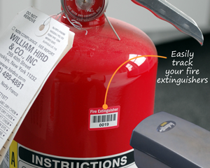 Labels to fire extinguishers