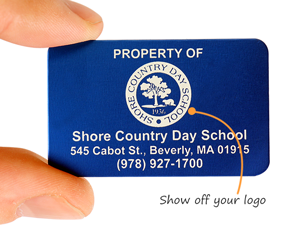 Labels with school logo