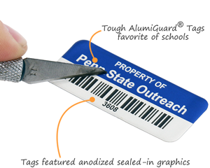 Metal asset tags for schools