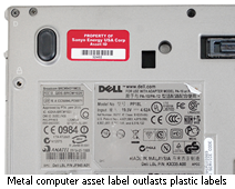 Metal computer asset label
