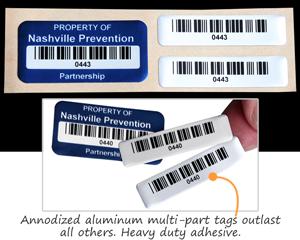 Annodized Aluminum Multipart Barcode Labels