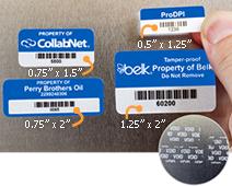 Four popular sizes for tamper-evident-asset-labels
