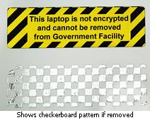 checkerboard tamper evident asset label