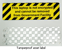 Tamperproof asset label for unencrypted laptop