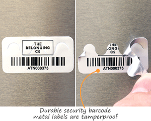 Tamperproof metal security labels with a barcode