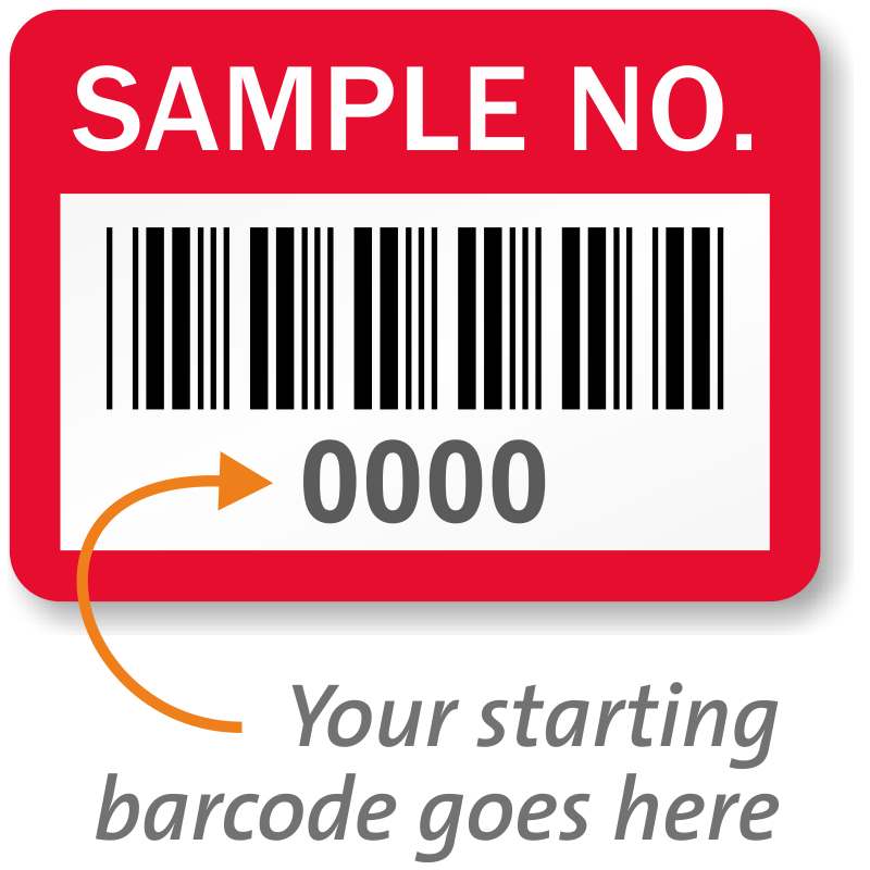 Sample No. Property Label, Barcode, SKU - AT-B4-EV-Sample