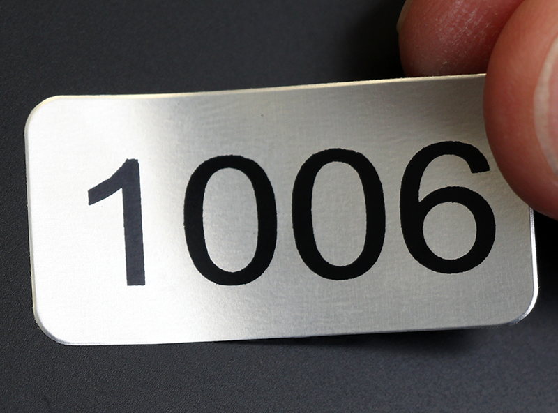 Numbered labels  made from anodized aluminum