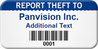 Custom Report Theft Asset Tag with Barcode