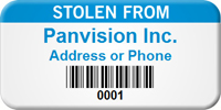 Barcoded Custom Asset Tag - Stolen From