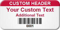 Custom Header - Personalized Barcode Asset Label