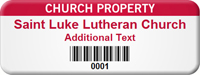 Customizable Church Property Asset Tag with Barcode