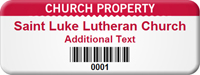 Custom Church Property Asset Tag with Barcode