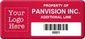 Asset Label, Property of Company Name with Barcode