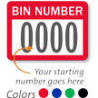 BIN NUMBER Label, numbering, pack of 1000