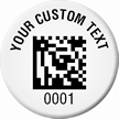 Customizable 2D Barcode Number Asset Tags - Circular