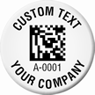 Customizable 2D Barcode Circle Asset Tags