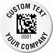 Custom Circular 2D Barcode Company Asset Tags