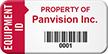Custom Equipment ID, Property Of, Barcode Asset Tag