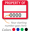 PROPERTY OF ____ (blank) Label, with numbering