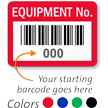 FoilGuard Equipment No. Metal Barcode Labels