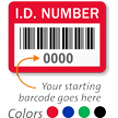 ID Number Labels, Choose Starting Barcode Numbering