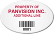 Custom Oval Asset Tag with Barcode