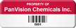 Personalized Property Of Company Name Tag with Barcode