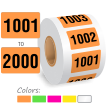 1001-2000 Color Coded Sequentially Pre-Numbered Labels Roll