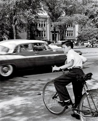 1959 Entering Traffic on Bike