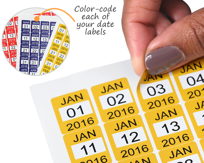 Personalize text and dates color code each of your date labels