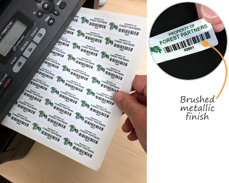 Laser printable sheets for barcodes or asset labels · laser printable asset labels