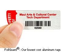 Aluminum foil asset tags