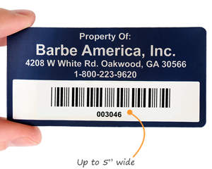 Anodized aluminum barcode label
